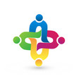teamwork people connection logo vector image vector image