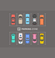 top view of different cars city parking parking z vector image vector image