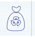 trash bag icon navy line icon on notebook vector image vector image