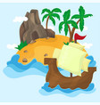 tropical island with palms in ocean vector image vector image