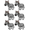 zebra with different expressions vector image vector image