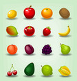 cartoon realistic fruit cherry apple game icon vector image