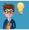 cartoon man business creative bulb folder glasses vector image