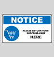 return your shopping cart here notice banner vector image