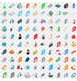 100 notebook icons set isometric 3d style vector image