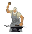 A blacksmith forges sword 01 vector image vector image