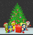 animals with presents and christmas tree vector image vector image