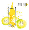 apple juice splash watercolor vector image