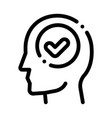 approved mark in man silhouette mind icon vector image vector image
