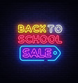 back to school sale neon sign back to vector image