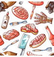 bbq meat party seamless pattern for decoration vector image