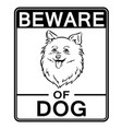 beware of cute dog coloring vector image vector image