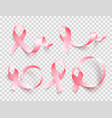 big set of pink ribbons isolated over transparent vector image