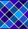 blue winter color diagonal check plaid seamless vector image vector image