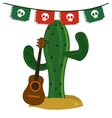 Cactus and guitar icon Mexico culture vector image