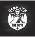 camp life is best on chalkboard vector image vector image