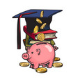 cartoon piggy bank with graduation hat money vector image