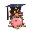 cartoon piggy bank with graduation hat money vector image vector image