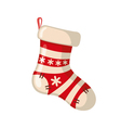 Christmas sock icon in flat style vector image vector image