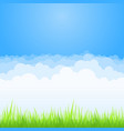 clouds on blue sky with green grass background vector image