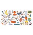 collection of school supplies or stationery vector image vector image