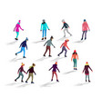 crowd of people skating on ice rink vector image