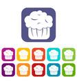 cupcake icons set vector image