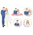 cute cartoon young wedding couple wreath logo vector image