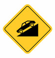 downhill traffic sign vector image vector image