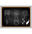 drawings of two pistons and a flower on a black vector image vector image