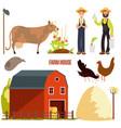 farming farm cartoon character elements vector image