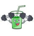 fitness green smoothie character cartoon vector image