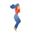 flat contemporary woman training boxing isolated vector image vector image