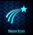 glowing neon falling star icon isolated on brick vector image