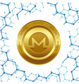 golden monero coin blue background image vector image
