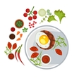 Grilled Steak with an Egg on Plate vector image vector image