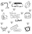 Hand draw element school in doodle vector image