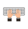 hands programmer typing work keyboard technology vector image