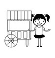 happy girl with food booth carnival vector image vector image