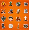 happy halloween cute stickers vector image vector image