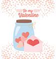 happy valentines day envelope letter jar glass vector image