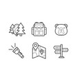 hiking and camping linear icons set eco tourism vector image