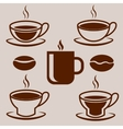 Isolated coffee set of cups and beans vector image