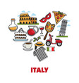 italy promo poster with national symbols set in vector image vector image