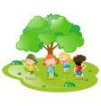 kids playing hide and seek in the park vector image vector image