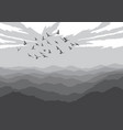 landscape with silhouettes of birds over mountains vector image
