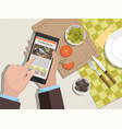 man looking for a cooking recipe on phone vector image vector image