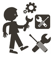 Man with Wrench Icon Tools Symbols Screwdriver vector image