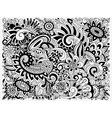 monochrome Doodle Floral Pattern vector image vector image