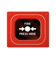 red fire alarm box vector image vector image
